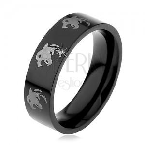 Černý prsten z chirurgické oceli - vlk