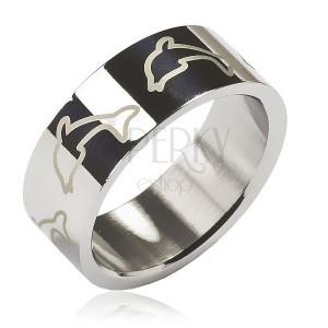Prsten z chirurgické oceli - světlí delfíni