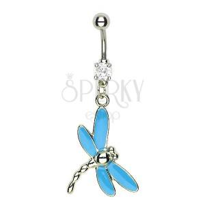 Piercing do pupíku vážka - modrá křídla, členitý ocásek