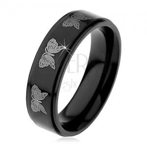Černý ocelový prsten - motiv světlí motýlci