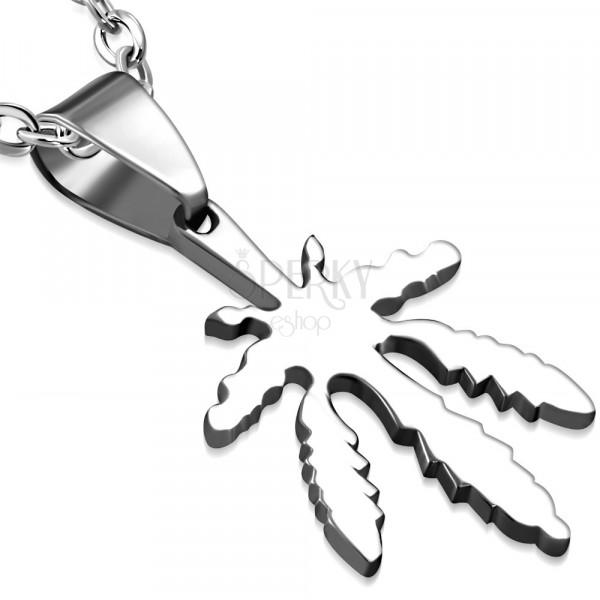 Přívěsek stříbrné barvy z chirurgické oceli - marihuanový list