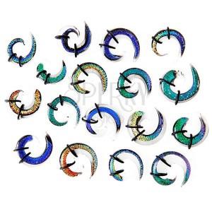 Expander do ucha - vícebarevná skleněná spirálka, gumičky