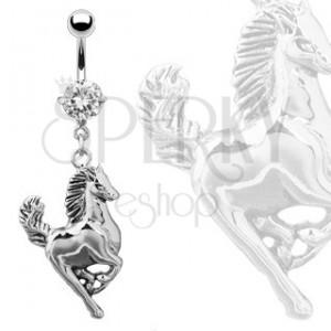 Piercing do pupíku - stříbrný cválající kůň