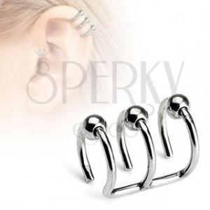 Fake piercing do ucha - trojitý kroužek s kuličkami