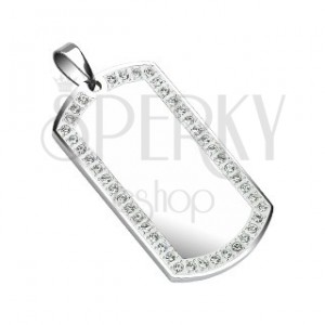 Ocelový přívěsek Dog Tag - zrcadýlko, zirkony 50 mm