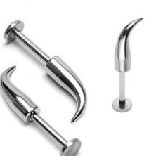 Piercing do brady a rtu z oceli 316L - lesklý zahnutý hrot, tloušťka 1,6 mm