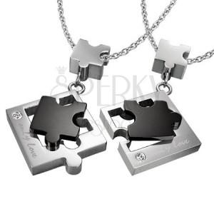 Přívěsky pro dva z oceli - puzzle, stříbrno-černý