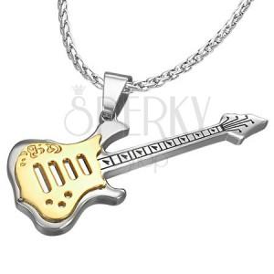 Ocelový přívěsek - tvar kytara, zlato-stříbrná barva