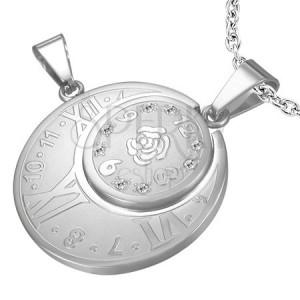Ocelový dvojitý přívěsek - hodiny s římskými číslicemi, růže