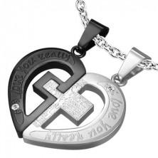 Dvojitý ocelový přívěsek - kříž v srdci, černo-stříbrná barva