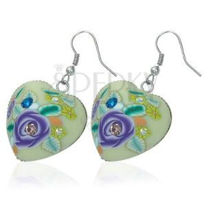 Fimo náušnice - srdce s fialovým květem