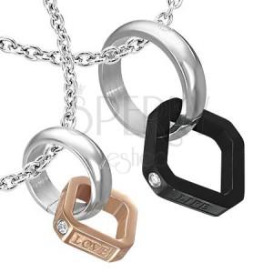 Ocelový dvojitý přívěsek - prstýnek, měděný a černý čtvereček