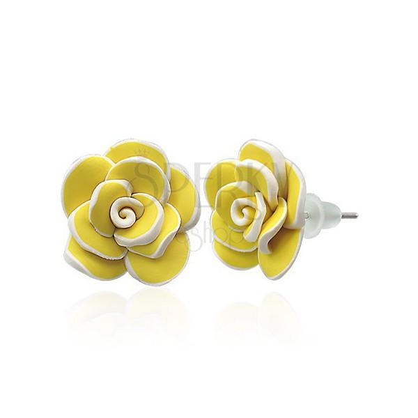 Fimo náušnice - velká žlutá růže