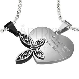 Ocelový přívěsek pro zamilované - srdce, motýl