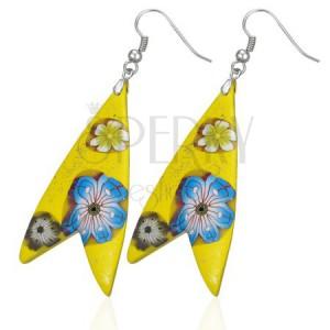 Náušnice Fimo - žlutý trojúhelník, tvar rybka, kvítky