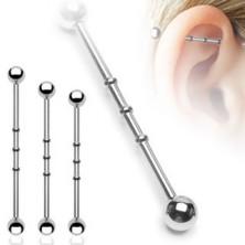 Piercing do ucha se třemi malými obručemi a kuličkovým zakončením