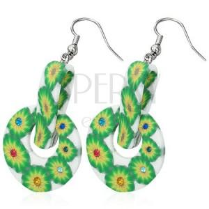 FIMO kruhové náušnice - zelené květy, kolíček