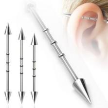 Piercing do ucha se třemi malými obručemi a hrotovým  zakončením