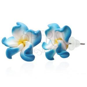 Fimo náušnice - modro-bílé lupeny, květ Plumerie