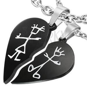 Ocelový přívěsek pro dva - efekt zlomené srdce