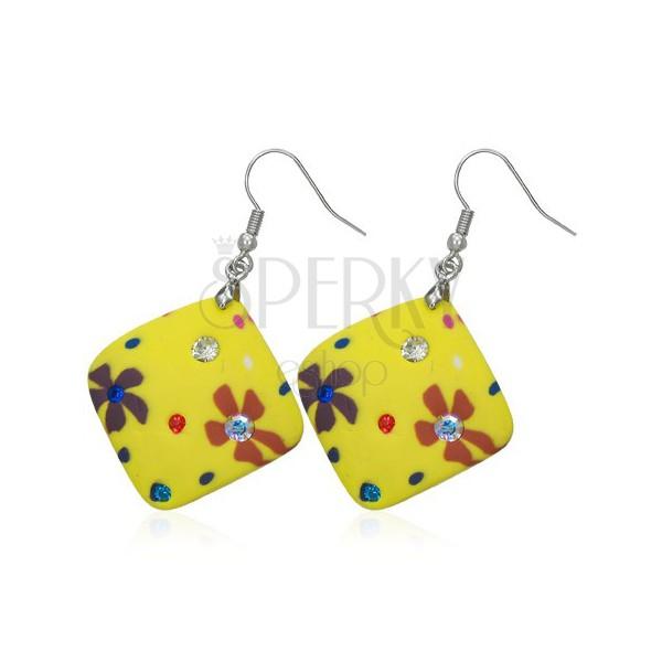 Náušnice Fimo - žluté čtverečky, kvítky a zirkony
