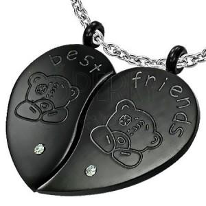 Ocelový přívěsek BEST FRIENDS - medvídek a zirkon