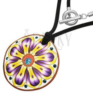 Fimo náhrdelník - kulatý, fialovo-žlutý květ, zirkony