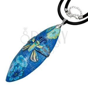 Fimo náhrdelník - modrý glitrovaný s motýlem