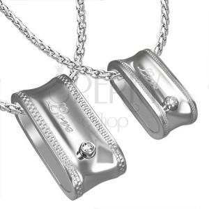 Přívěsek z oceli pro dvojici, oválný prstenec - nápis a zirkon