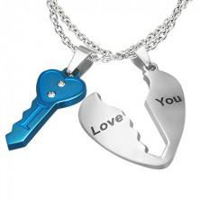 Složený přívěsek pro zamilované - klíč a srdce