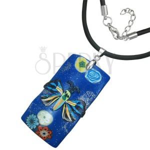 Fimo náhrdelník - tmavomodrý obdélník s motýlem