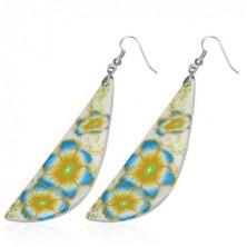 FIMO náušnice - bílo-žlutá slza, modré květy