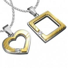 Ocelový přívěsek pro zamilované - čtverec 3fe702fa324