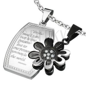 Ocelový dvoupřívěsek - obdélník, květ a zirkony
