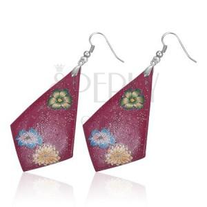 FIMO náušnice - fialové kosočtverce, květy
