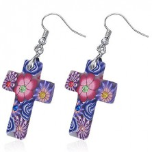 Fimo náušnice - bílý kříž s fialovými květy, zirkony