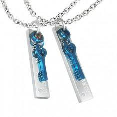 Přívěsky z oceli pro dvojici - obdélník, klíček, zirkon R3.12