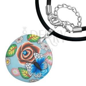 FIMO náhrdelník - modrý kruh s motýlem, zirkony, květy