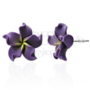 FIMO náušnice - fialový květ