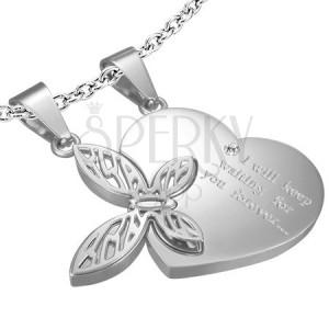 Dvoudílný ocelový přívěsek pro zamilované - srdce, motýl