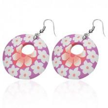 Kulaté Fimo náušnice - růžové, bílé květy
