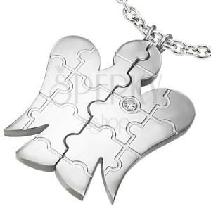 Ocelový přívěsek ANDĚL pro dvojici - zirkon, puzzle