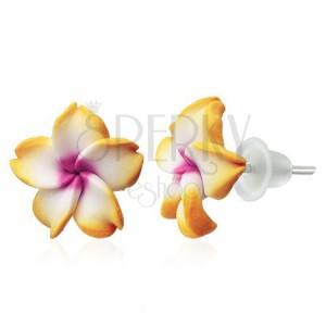 Náušnice Fimo - květ Plumerie, žluto-bílý