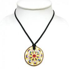 Kulatý FIMO náhrdelník - květ, zirkony