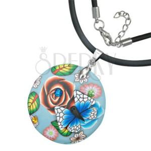 Kulatý Fimo náhrdelník - list, květy, modrobílý motýl