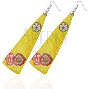 FIMO náušnice - žluté trojúhelníky, kvítky