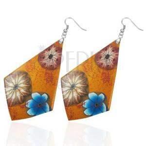 Náušnice FIMO - oranžové  čtyřúhelníky, květy