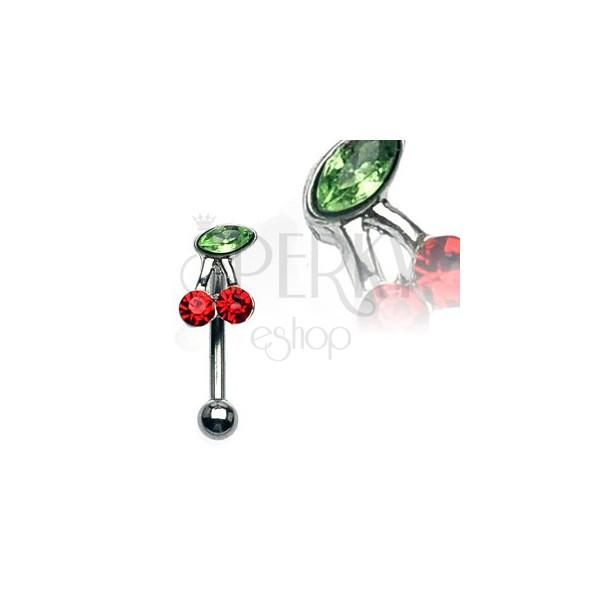 Piercing do obočí - třešeň se zelenými a červenými zirkony