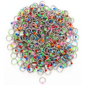 Piercing z oceli s barevnými kuličkami