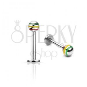 Labret s trojbarevnou kuličkou - chirurgická ocel